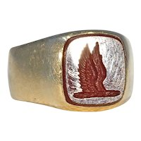 Victorian Carnelian Signet Ring with Wings