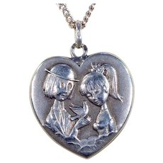 Vintage Peynet Silver French Lovers Necklace