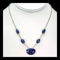 Antique Arts and Crafts Silver Gilt Lapis Necklace c.1910
