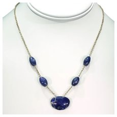 Antique Arts and Crafts Silver Gilt Lapis Necklace c.1910
