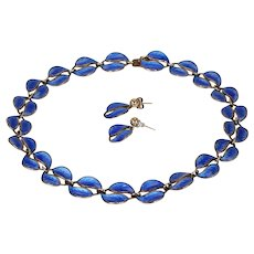 Vintage David Andersen Silver Gilt Blue Enameled Leave Necklace Earrings Set