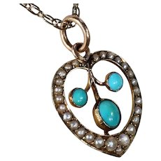 Antique Edwardian Turquoise Pearl Heart Pendant Necklace