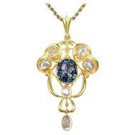Antique Art Nouveau Sapphire Moonstone Necklace in 15k Gold