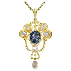 Antique Art Nouveau Sapphire Moonstone Necklace in 15k Gold