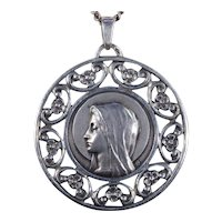 Antique French St Mary Silver Pendant Necklace