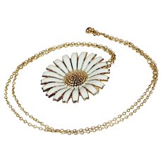 "Vintage Georg Jensen Daisy Pin Pendant Necklace with 26"" Chain, Gold Plated Sterling"
