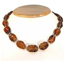 Vintage Carved Citrine Bead Necklace