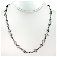 Mid-Century Hand Crafted Silver Chain Necklace
