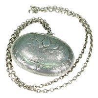 Antique Silver Pill Box Locket Necklace Birds