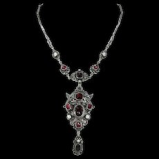 Austro Hungarian Silver Garnet Pearl Necklace Dragon Motif