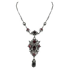 Austro Hungarian Silver Garnet Pearl Necklace Dragon Motif