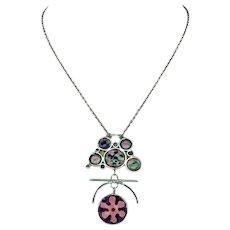 Vintage Norman Grant Enamel Necklace Silver Custom