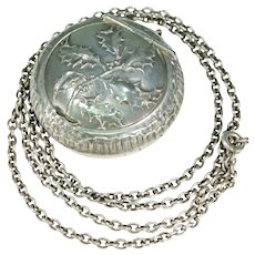 Reserved~Antique French Holly Compact Pendant Locket