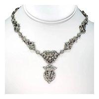 Silver French Fleur-de-lis Antique Paste Necklace