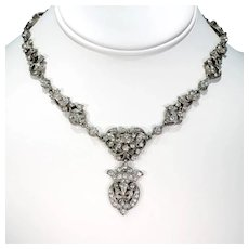 Silver French Fleur-de-lis Antique Paste Necklace
