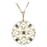Edwardian Sapphire Pearl Pendant Necklace 15k Gold