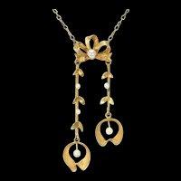 Antique French Art Nouveau Gold Pearl Necklace Mistletoe