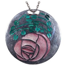 Vintage Norman Grant MacIntosh Rose Pendant Necklace
