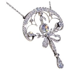 Edwardian Diamond Drop Necklace Platinum & Gold