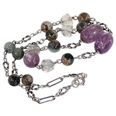 Silver Arts & Crafts Amethyst Rock Crystal and Agate Necklace
