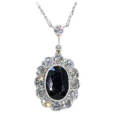 French Early Art Deco Platinum Diamond Sapphire Necklace