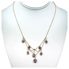 Gold Arts and Crafts Amethyst Pearl Drop Necklace