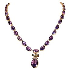 Victorian Amethyst Riviere Necklace Bow Drop