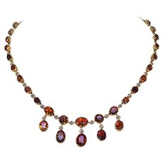 Victorian Citrine Gold Riviere Necklace