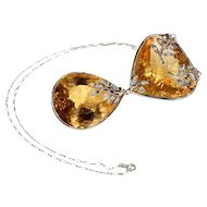 Modern Large Citrine Diamond Necklace