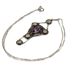 Antique Arts & Crafts Amethyst and Mother of Pearl Necklace in Sterling Silver