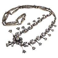 Antique Victorian Floral Design Diamond Necklace