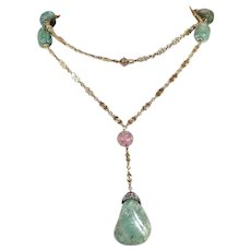 Antique Fancy French Tourmaline Gold Necklace