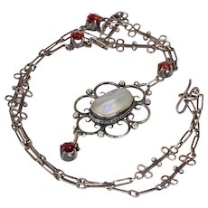 Antique Garnet Mother of Pearl Silver Necklace Arts & Crafts
