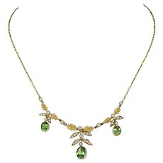 Edwardian 15k Gold Peridot Pearl Necklace Leaf Motif
