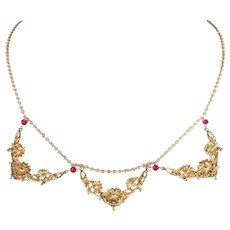 Art Nouveau Ruby Gold Necklace French Floral