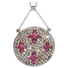 Edwardian Diamond Ruby Necklace Gold Platinum