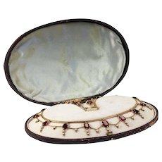 Victorian Garnet Pearl Festoon Necklace in Original Box