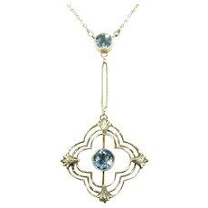 Antique Edwardian Aquamarine Gold Necklace