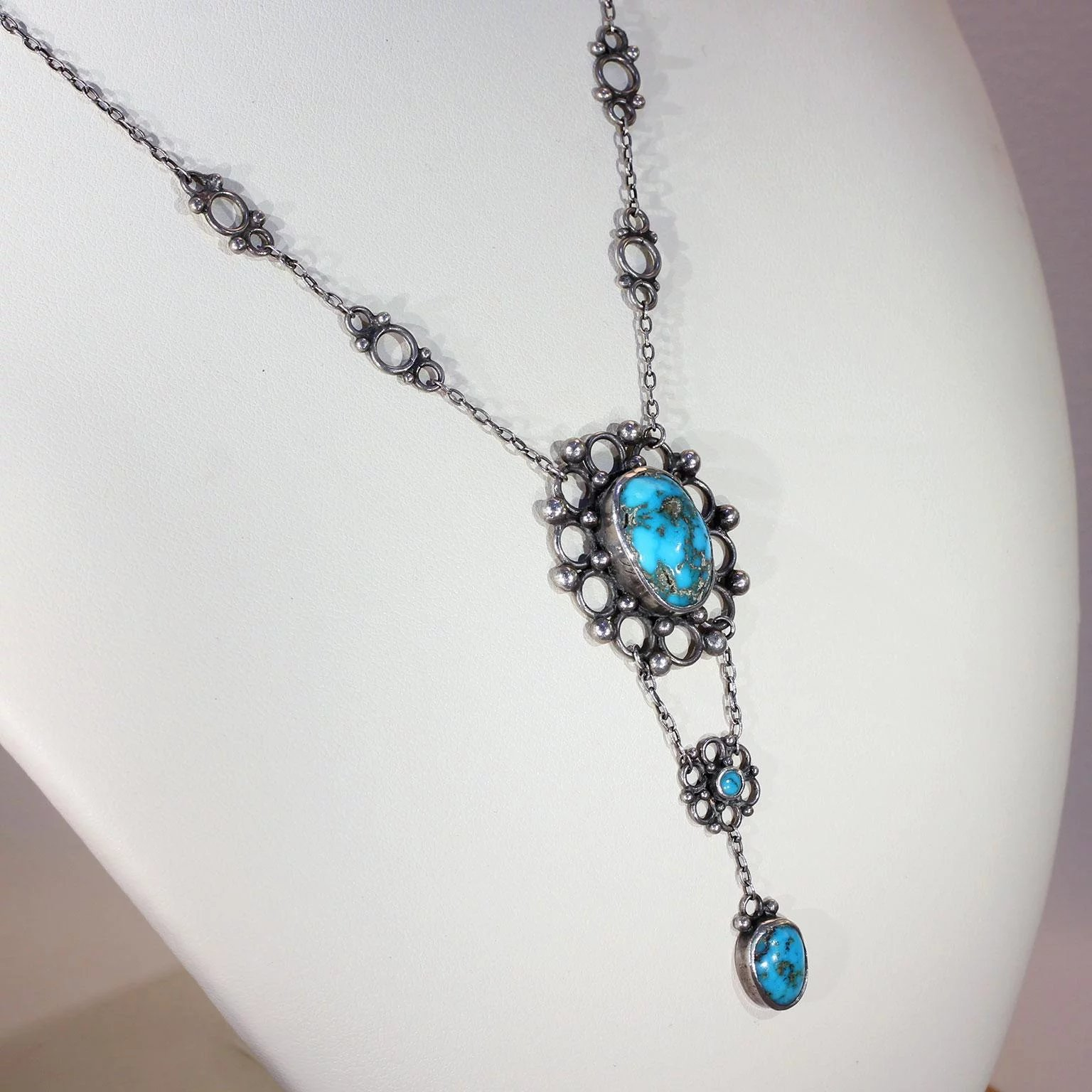 Antique Arts & Crafts Turquoise Silver Necklace by the ...