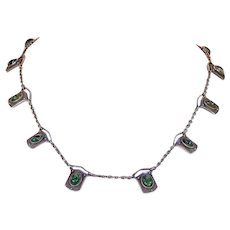 Antique Emerald Matrix Silver Necklace by Murrle Bennett and Co.