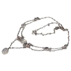 Edwardian Silver Moonstone Necklace Arts & Crafts
