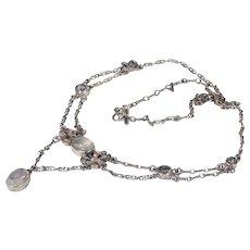 Edwardian Silver Moonstone Necklace Arts & Crafts