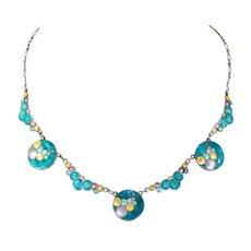Vintage Art Deco Silver Enamel Bubbles Necklace