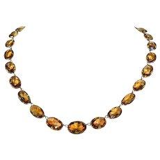 Victorian Gold Citrine Riviere Necklace