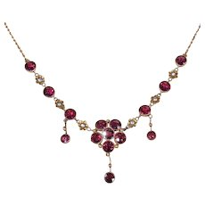 Arts & Crafts Garnet Gold Necklace by Murrle Bennett & Co.