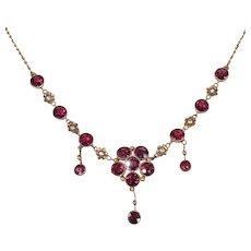 Arts & Crafts Garnet Gold Necklace by Murrle Bennett & Co.