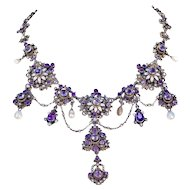 Antique Austro-Hungarian Pearl Amethyst Necklace Silver c. 1870