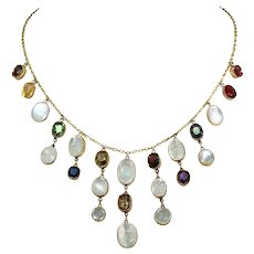 Edwardian Moonstone Necklace with Spinel Garnet Zircon and Citrine