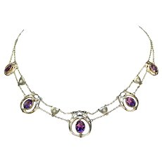 Art Nouveau Amethyst Pearl Gold Necklace