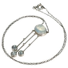 Silver Moonstone Antique Arts and Crafts Necklace